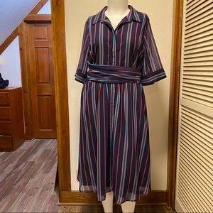 New eShatki Purple Striped Dress 22W
